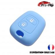 Housse SILICONE pour CLE PEUGEOT 106 206 306...BLEUE ETUI de protection COQUE TELECOMMANDE @Pro-Plip