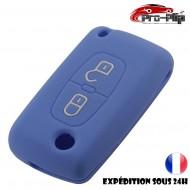 Housse SILICONE pour CLE CITROEN 2 boutons c1 c2 c3 c4 c5 c6.....BLEUE ETUI de protection COQUE TELECOMMANDE @Pro-Plip