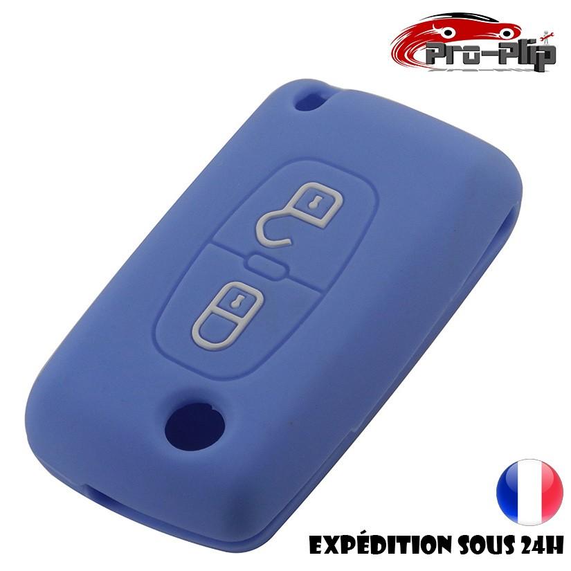 Sourcing map Coque de protection en silicone pour cl/é de voiture Motif trois boutons Bleu