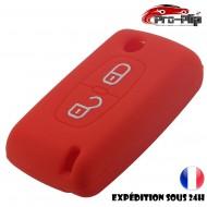 Housse SILICONE pour CLE CITROEN 2 boutons c1 c2 c3 c4 c5 c6.....ROUGE ETUI de protection COQUE TELECOMMANDE @Pro-Plip
