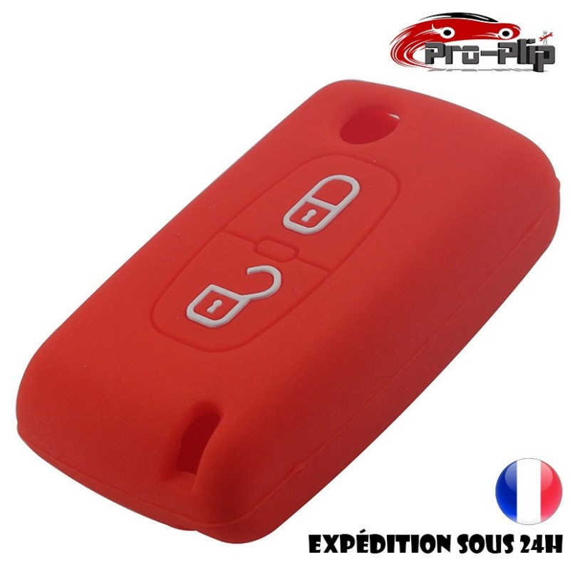 housse silicone pour cle citroen 2 boutons c1 c2 c3 c4 c5 c6 rouge etui de protection coque. Black Bedroom Furniture Sets. Home Design Ideas