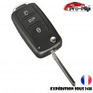 CLE PLIP pour Volkswagen Golf Polo Passat Bora Touran Cady Jetta 3 boutons COQUE TELECOMMANDE @Pro-Plip