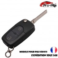 CLE PLIP pour Volkswagen Golf Polo Passat Bora Transporter Touareg Jetta 2 boutons COQUE pour pile CR2032 TELECOMMANDE @Pro-Plip