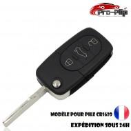 CLE PLIP pour Volkswagen Golf Polo Passat Bora Transporter Touareg Jetta 3 boutons COQUE pour pile CR1620 @Pro-Plip