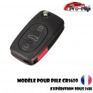 CLE PLIP pour Volkswagen Golf Polo Passat Bora Transporter Touareg Jetta 3 boutons + PANIC COQUE pour pile CR1620 @Pro-Plip