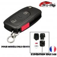 CLE PLIP pour AUDI A2 A3 A4 A6 A8 TT S3 S4 A1 A5 Q7 2 boutons + PANIC COQUE pour pile CR2032 @Pro-Plip