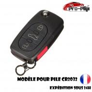 CLE PLIP pour AUDI A2 A3 A4 A6 A8 TT S3 S4 A1 A5 Q7 3 boutons + PANIC COQUE pour pile CR2032 @Pro-Plip