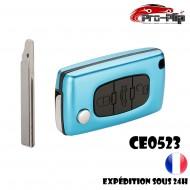 CLE PLIP PEUGEOT COFFRE Partner Expert Tepee Boxer Bipper CE0523 lame AVEC rainure Bleue Ciel @Pro-Plip