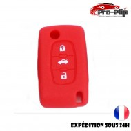 Housse Rouge SILICONE CLE PEUGEOT CITROEN bouton central COFFRE ETUI de protection @Pro-Plip
