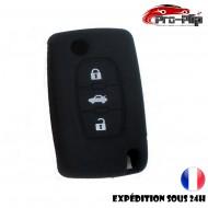 Housse Noire SILICONE CLE PEUGEOT CITROEN bouton central COFFRE ETUI de protection @Pro-Plip
