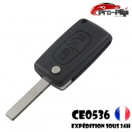 CLE PLIP 2 boutons PEUGEOT 3008 5008 modèle CE0536 lame AVEC rainure TELECOMMANDE @Pro-Plip