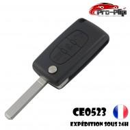 CLE PLIP PEUGEOT 3 boutons PHARE 3008 5008 modèle CE0523 lame SANS rainure TELECOMMANDE @Pro-Plip