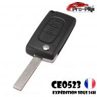 CLE PLIP PEUGEOT 3 boutons PHARE 3008 5008 modèle CE0523 lame AVEC rainure TELECOMMANDE @Pro-Plip