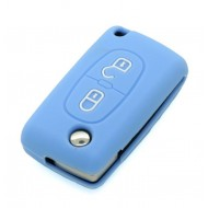Housse SILICONE pour CLE CITROEN et PEUGEOT 2 boutons.....BLEUE ETUI de protection COQUE TELECOMMANDE @Pro-Plip