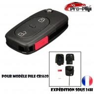 CLE PLIP pour AUDI A2 A3 A4 A6 A8 TT S3 S4 A1 A5 Q7 2 boutons + PANIC COQUE pour pile modèle CR1620 @Pro-Plip