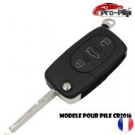 CLE PLIP pour AUDI A2 A3 A4 A6 A8 TT S3 S4 A1 A5 Q7 3 boutons + PANIC COQUE pour pile CR1620 @Pro-Plip