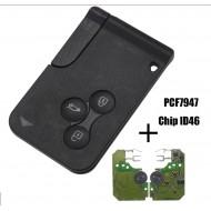 smartcard carte complète avec électronique à Programmer RENAULT Scénic Mégane Koleos Clio 433Mhz ID46 PCF7947 ProPlip