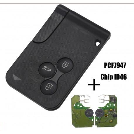 Jingyuqin 10ps 3 bouton 433Mhz ID46 PCF7947 puce et insertion petite lame distance carte puce pour Renault