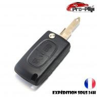 CLE PLIP pour PEUGEOT 206 2 boutons flip dépliable boitier CE0536 COQUE TELECOMMANDE @Pro-Plip