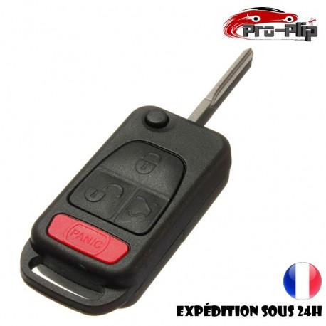 CLE PLIP pour Mercedes Benz ML C CL S SL SEL E A G W Classe 4 boutons lame sans rainures PANIC COQUE TELECOMMANDE @Pro-Plip