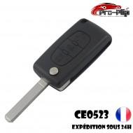 CLE PLIP PEUGEOT 3 boutons PHARE 107 207 208 307 308 407 807 modèle CE0523 lame SANS rainure TELECOMMANDE @Pro-Plip