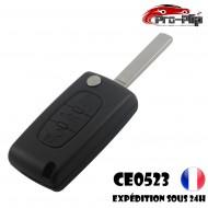 CLE PLIP PEUGEOT 3 boutons COFFRE 107 207 208 307 308 407 807 modèle CE0523 lame SANS rainure TELECOMMANDE @Pro-Plip