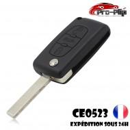 CLE PLIP PEUGEOT 3 boutons COFFRE 107 207 208 307 308 407 807 modèle CE0523 lame AVEC rainure TELECOMMANDE @Pro-Plip
