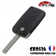 CLE PLIP PEUGEOT 3 boutons COFFRE 807 Partner Expert CE0536 lame SANS rainure TELECOMMANDE @Pro-Plip