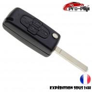 CLE PLIP PEUGEOT 4 bouton 807 1007 modèle CE0523 lame SANS rainure TELECOMMANDE @Pro-Plip